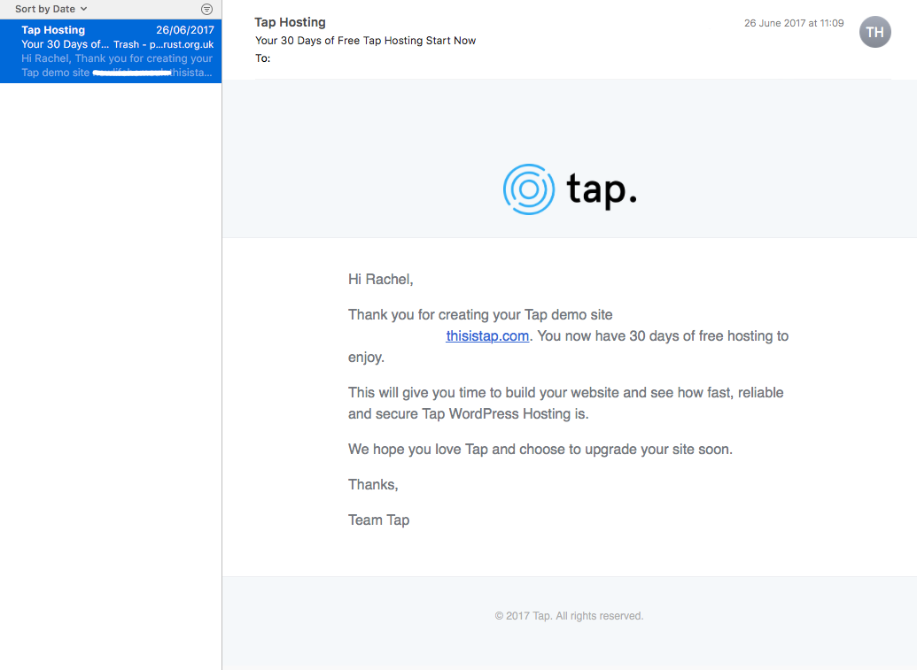 Tap email